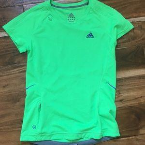 Green Adidas exercise shirt
